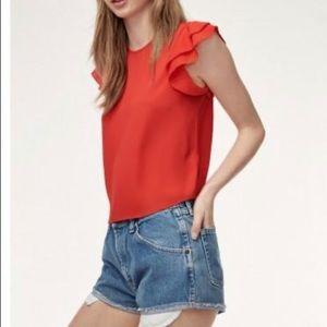 Aritzia blouse with ruffle shirt sleeve